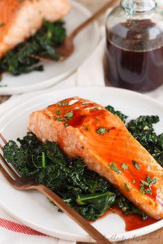 A sweet, tangy, and spicy glaze is generously topped on salmon in this cherry chipotle glazed salmon recipe! You'll discover how versatile this glaze is, as well! Cherry Chipotle Glazed Salmon Recipe, Bourbon Glazed Salmon, Spicy Salmon, Salmon Recipes, Fish Recipes, Seafood Recipes, Healthy Recipes, Salmon Dishes, Salmon Patties