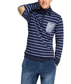 ESPRIT Herren Poloshirt mit Knopfleiste - Regular Fit, Gr. X-Large, Blau (NAVY 400)