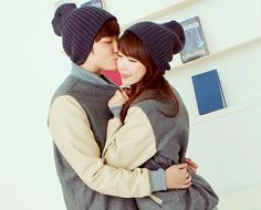 Matching ulzzang couple in a cute pose