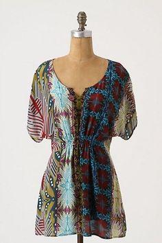 Anthropologie Fei Penthesilea Tunic Silk Kimono Sleeve Blouse Top 0 2 XS #Anthropologie #Tunic #Casual