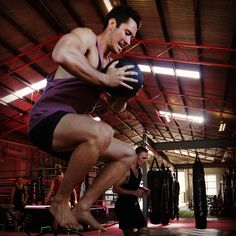 Box jumps with medicine ball