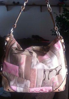 Coach Carly Patch Work shoulder bag purse hand bag satchel Signature c's suede #Coach #ShoulderBag