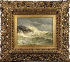 Description: A powerful antique oil painting depicting waves violently crashing on jagged rocks by James Gale Tyler. Note the sea gull cruising just a few inches above the surf.  Condition Report: excellent  Notes: frame restored  Dimensions: 17x21  Artist or Maker: James Gale Tyler (1855-1931)  Medium: oil on canvas  Date: 1890