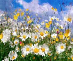 Daisies On A Hill - Impressionism Painting  - Daisies On A Hill - Impressionism Fine Art Print