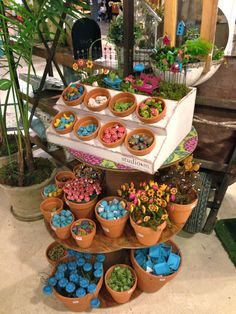 Great way to display miniature and fairy garden items in your