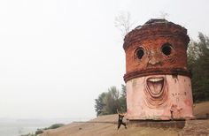 russian street artist nikita nomerz transforms abandoned structures in various cities including his home town of nizhniy novgorod by re-purposing  their features into distinctive characters through graffiti. nomerz continues the project by traveling and transforming urban debris,  tree trunks and dilapidated buildings into peculiar illustrations full of personality and quirk. converting chasms into mouths and crumbling  brick craters into eyes, the artist re-interprets what was once…