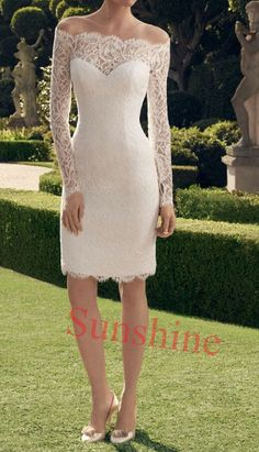 2014 New Full sleeve Scoop Above knee Short White/Ivory  Sheath Lace Bridal Gown Wedding Dresses Size 6 8 10 12 14 16 18 +