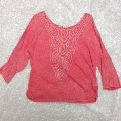 Maurices large top Worn once, super cute has a the die effect, scrounges on the sides for an extra detail, this is a pinky red salmon coral color haha more of a longer 3/4 sleeve, no flaws, no trades Maurices Tops Tees - Long Sleeve