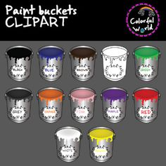 Paint buckets by Colorful World Paint Buckets, 12 Image, Clip Art, Mugs, Tableware, Painting, Color, Dinnerware, Tumblers