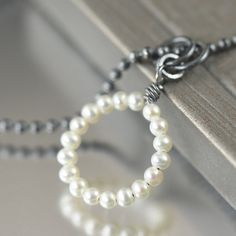 White freshwater pearl wire wrapped sterling silver necklace, June Birthstone