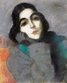 Women in Painting by Jozsef Rippl-Ronai (1861-1927) Portrait of Zdenka Ticharich, 1921