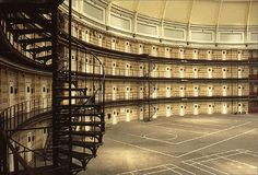 "Panopticon Prison - Inside of the ""Koepelgevangenis"" (Dome or Panopticon Prison"") in Arnhem, the Netherlands."