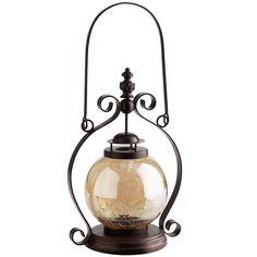Amber Luster Crackle Glass Lantern