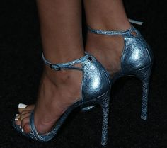 "Victoria Justice Parties Sans Underwear in a White Frock and Metallic Blue ""Nudist"" Heels"