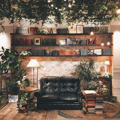 Beautifully lit living room decorated with greenery!