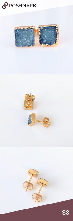 Gold-plated genuine agate druzy stud earrings Nickel and lead free.  Genuine stone.  Price is firm; bundle to save 10%! Jewelry Earrings