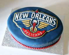 New Orleans Pelicans Groom's Cake - click on over to Rose Bakes for more pics and all the details plus see the room where the cake was set up!