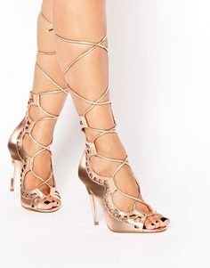 Rose Gold tie-up peep toe sandals