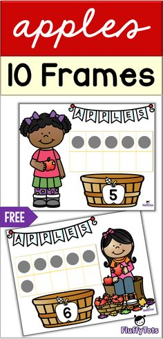 FREE Apple 10-Frames Printables | Great for preschoolers and Pre-K. Fun 10-frames with adorable kids holding apples. It will excite your class instantly! #mathprintables #10frames #appleprintables