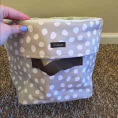 Thirty One round organizer Tan and white polka dot organizer, great to store toiletries in! Thirty-One Bags
