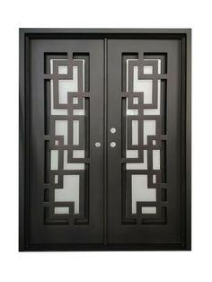 Belton Double Front Entry Wrought Iron Door Frost Glass 72 x 96 Right Active Front Door Design Wood, Grill Door Design, Main Door Design, House Door Design, Door Grill, Iron Front Door, Front Entry, Entry Doors With Glass, Modern Entry Door