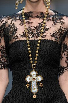 Dolce & Gabbana  Fall 2013 [rp: sans jewelry for me LOL the lace top really needs no additional ornamentation. except to add a VERY simple but elegant choke and some sort of minimalist drop earrings – no more than an inch dangle]