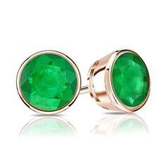 14k Rose Gold Bezel Round Emerald Stud Earrings 0.25 ct tw by JewelryHub on Opensky