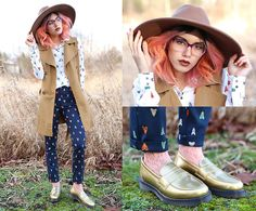 H&M Moth Blouse, H&M Moth Trousers, Dr. Martens Gold Loafers, Evergreen Ombre Glasses