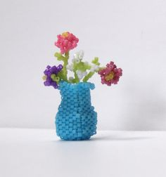 Miniature Beaded Vase & Flowers Sculpture by BlackstreaksBeads, $25.00