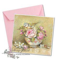 La mésange au bol en porcelaine fleuri Royal Albert avec roses - D'après une peinture helen Flont - Reproduction, print , carte postale