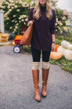 7c9cef6fade3d Tunic Sweater, Leather Boots & Leg Warmers Leg Warmers Outfit, Boots With Leg  Warmers