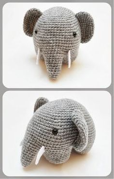 Crochet Amigurumi FREE Amigurumi Elephant Crochet Pattern and Tutorial -- I know I already have an elephant but. - Crochet these adorably round elephants with a brilliant technique that requires minimal attaching! Crochet Diy, Crochet Amigurumi, Amigurumi Patterns, Crochet Crafts, Crochet Dolls, Yarn Crafts, Knitting Patterns, Crochet Patterns, Crochet Elephant Pattern Free