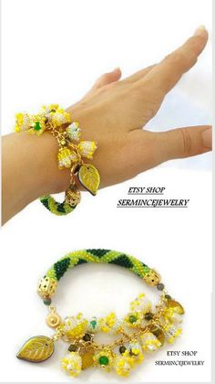 Bracelet - Lily of the valley- Bead crochet bracelet - Beaded crochet bracelets -  SERMINCEJEWELRY
