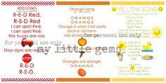 My Little Gems: Preschool Color Songs- Free Printables {Part One}