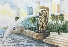 Merlion Singapore Watercolour by Brian Tai Merlion Singapore, Singapore Art, Travel Website Design, Watercolor Art, Illustration, Poster, Students, Paintings, Collections
