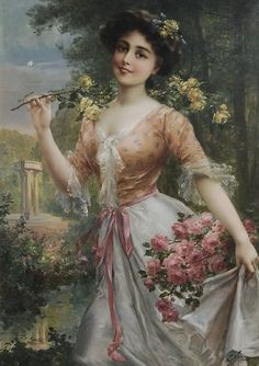 Emile Vernon was born in Blois, France in 1872 and died at the young age of 48 in 1919. He studied painting under the French genre artist Auguste Joseph Trupheme (1836-1898). He was a painter of portraits, figures, still lifE, landscapes, flowers and fruits. He lived in both Paris and London. His most sought after paintings are those of beautiful women and children. He was initially a student at the School of Fine Arts in Tours where he won the first prize for design.