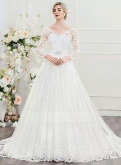 [Kr 1 962] Balklänning V-ringning Court släp Tyll Spets Bröllopsklänning med Beading Paljetter