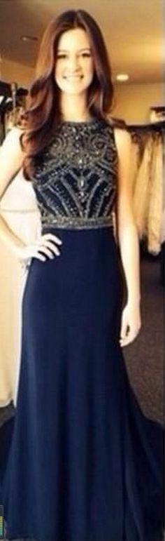 Custom Made A Line Dark Navy Blue Beaded Long Prom Dresses  Formal Dresses Navy Blue Evening Dresses Graduation Dresses