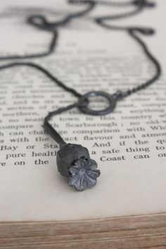AMULET Oxidised Silver Poppy Seed Pod Necklace