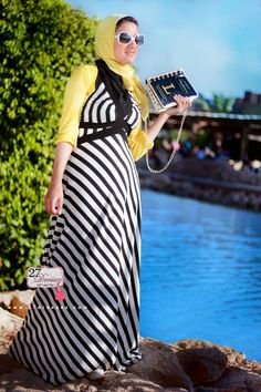 stripe maxi dress  Hijab casual outfits by 27dressesz http://www.justtrendygirls.com/hijab-casual-outfits-by-27dressesz/