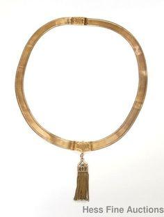 Victorian Antique 14k Gold Woven Wide Enamel Greek Key Tassel Necklace