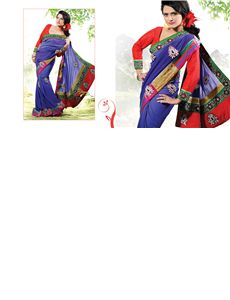 adah_pk_1001 - Gorgeous Pure Bemberg Georgette saree having lazer cut zari work border with pearl hand work butta and contrast blouse