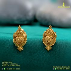 Gold 916 Premium Design Get in touch with us on Gold Earrings Designs, Gold Jewellery Design, Necklace Designs, Gold Jewelry, Small Earrings, Gold Fashion, Designer Earrings, Indian Jewelry, Touch