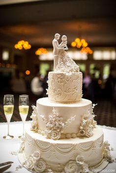 Indian Weddings Inspirations. Elegant Ivory Wedding Cake. Repinned by #indianweddingsmag indianweddingsmag.com #vintage #classic