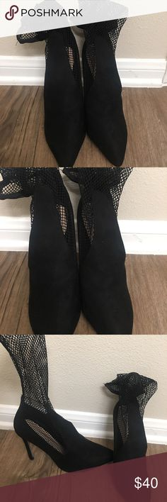 Black Fishnet Heels BRAND NEW BRAND NEW NEVER WORN!  Black Fishnet Heels, they are boohoo brand.   Originally $65  Size 9 Boohoo Shoes Heels