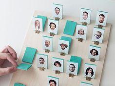 Idée cadeau personnalisé : un jeu de Qui-est-ce avec la photos de vos amis ou de votre famille.