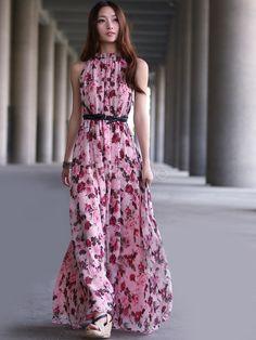 Pink Pleated Sleeveless Floral Chiffon Womens Maxi Dress - Milanoo.com