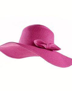 ANNE WEYBURN Straw Hat with Bow Trim
