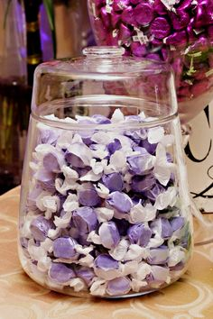 candy bar with purple and orange candy - we can get salt water taffy from Rehoboth to commemorate your engagement!!