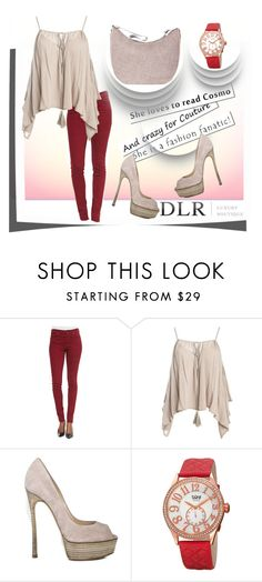 """""""Bez naslova #60"""" by fashion-with-lela ❤ liked on Polyvore featuring 7 For All Mankind, Sans Souci, Casadei, bürgi, Borbonese and dlrboutique"""